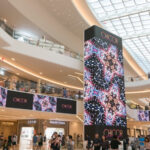 Flexible LED Displays Advertising An Online Store At A Modern Shopping Mall.
